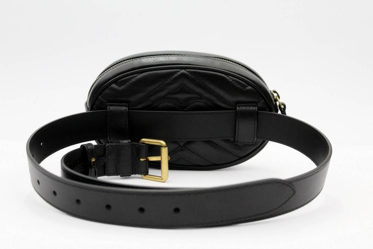 2a9b2e8a973 Black Gucci GG Marmont matelassé leather belt bag For Sale