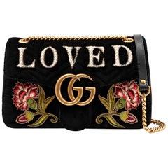 Gucci GG Marmont Medium Embroidered Matelassé Velvet Shoulder Bag