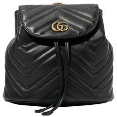 Gucci GG Marmont Quilted Leather Trimmed Quilted Velvet Backpack