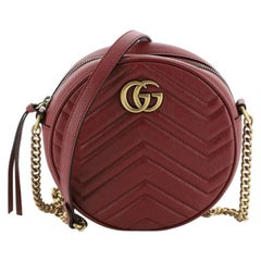 Gucci GG Marmont Round Shoulder Bag Matelasse Leather Mini