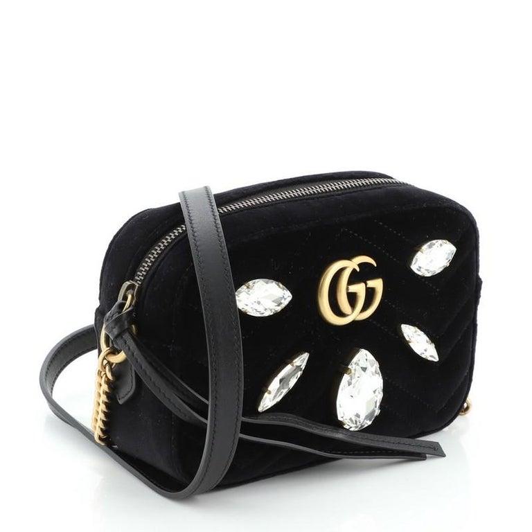Gucci GG Marmont Shoulder Bag Crystal Embellished Matelasse Velvet Mini In Good Condition For Sale In New York, NY