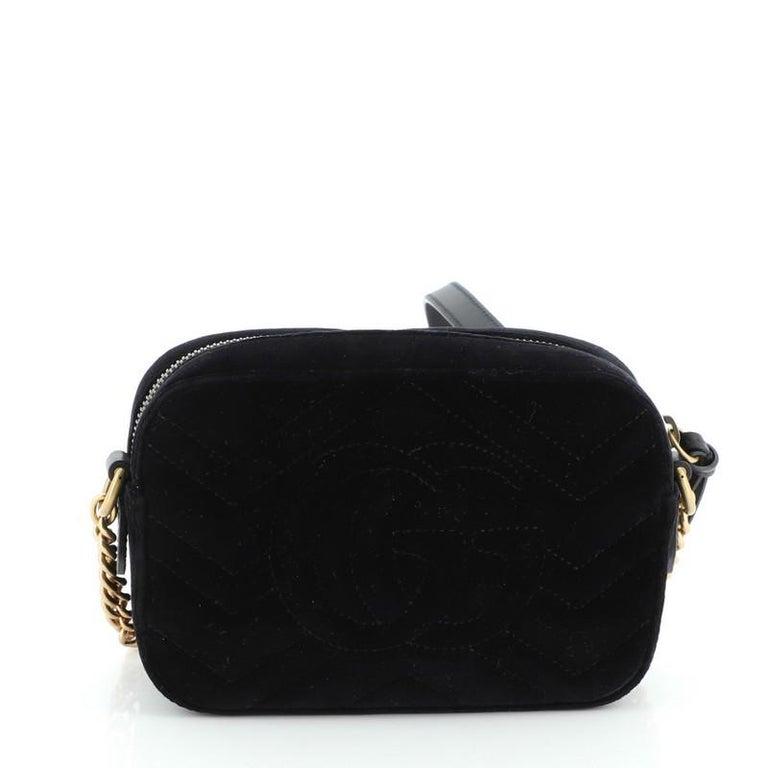 Women's or Men's Gucci GG Marmont Shoulder Bag Crystal Embellished Matelasse Velvet Mini For Sale
