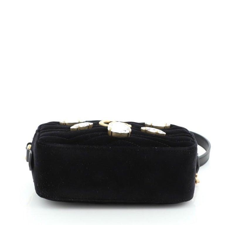 Gucci GG Marmont Shoulder Bag Crystal Embellished Matelasse Velvet Mini For Sale 1