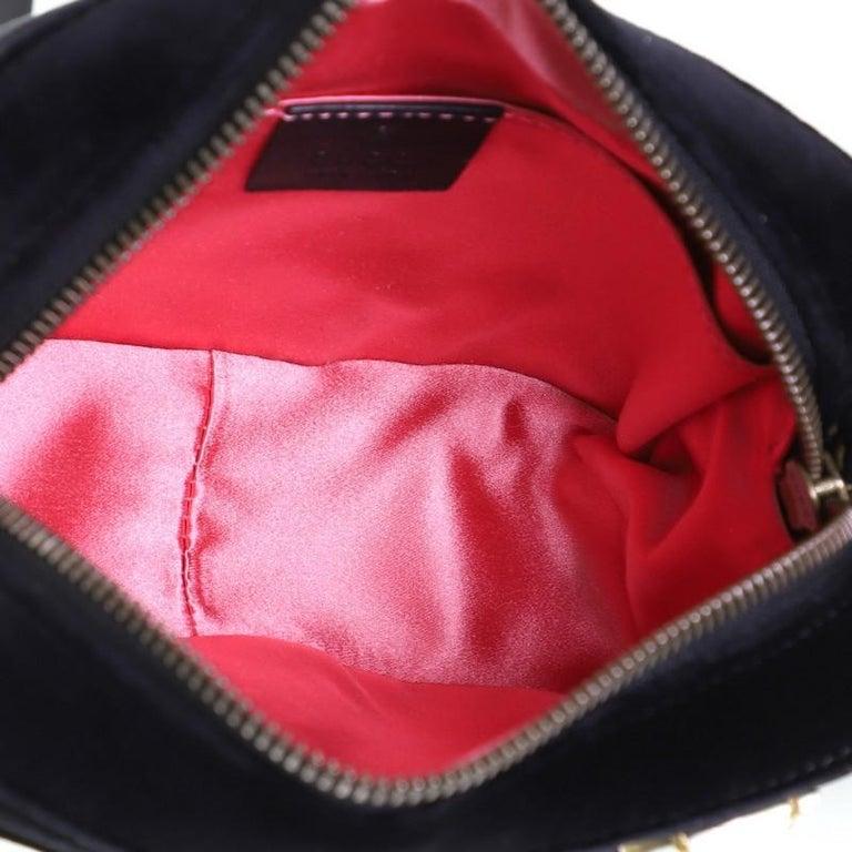 Gucci GG Marmont Shoulder Bag Crystal Embellished Matelasse Velvet Mini For Sale 2