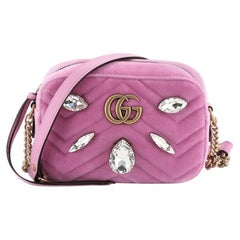 Gucci GG Marmont Shoulder Bag Crystal Embellished Matelasse Velvet Mini