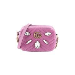Gucci GG Marmont Shoulder Bag Crystal Embellished Matelasse Velvet Mini