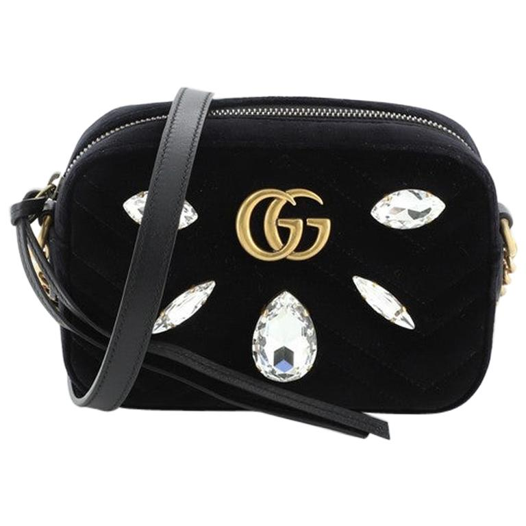 Gucci GG Marmont Shoulder Bag Crystal Embellished Matelasse Velvet Mini For Sale
