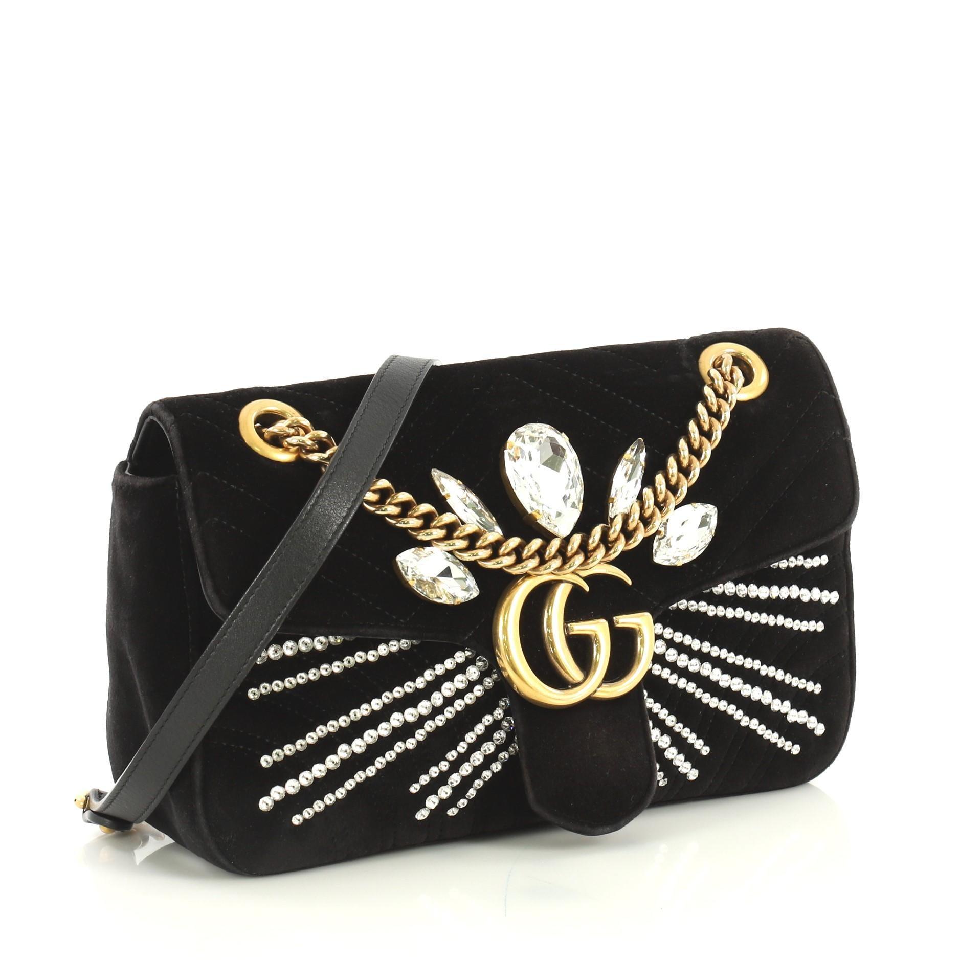 Gucci GG Marmont Shoulder Bag Crystal Embellished Matelasse Velvet Small