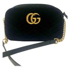 Gucci GG Marmont Small Black Velvet Bag - Zip Top