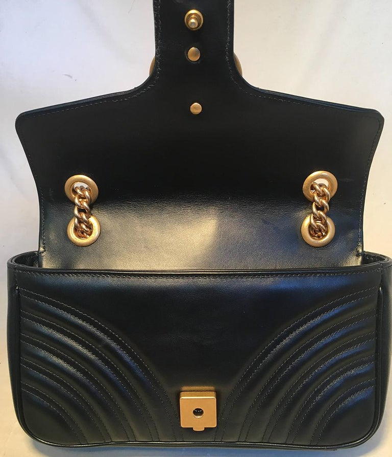 Gucci Gg Marmont Small Matelass 233 Black Leather Shoulder