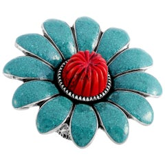 Gucci GG Marmont Sterling Silver Turquoise Enamel and Coral Paste Flower Ring