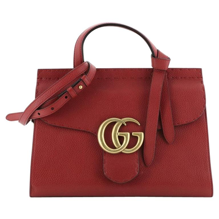 Gucci GG Marmont Top Handle Bag Leather Small For Sale
