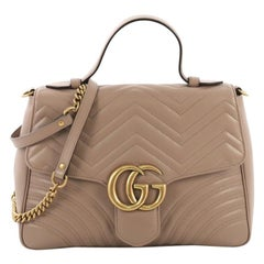 Gucci GG Marmont Top Handle Flap Bag Matelasse Leather Medium