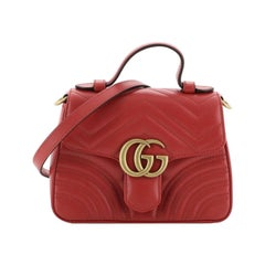 Gucci GG Marmont Top Handle Flap Bag Matelasse Leather Mini