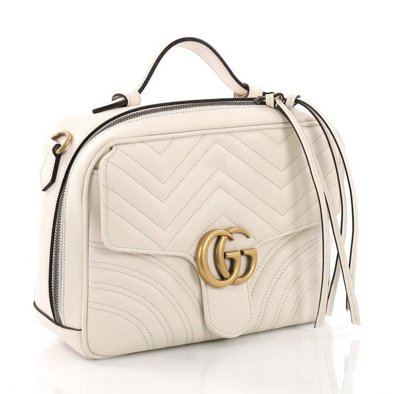15fdd58d186 Beige Gucci GG Marmont Top Handle Flap Bag Matelasse Leather Small For Sale