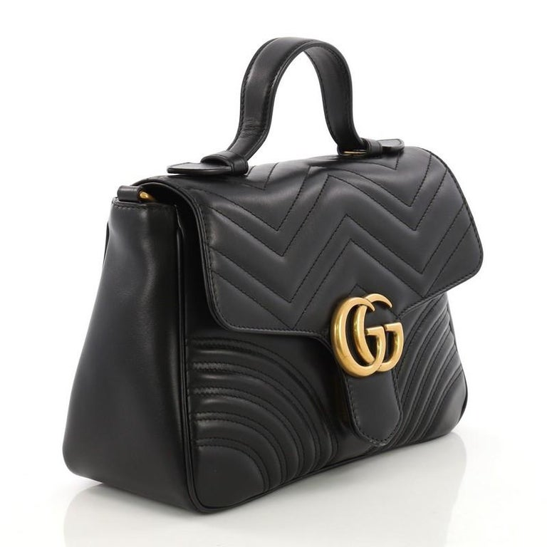 fad6335a99a Black Gucci GG Marmont Top Handle Flap Bag Matelasse Leather Small For Sale