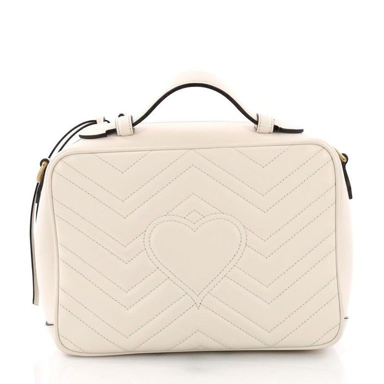 c4f8474ea48 Gucci GG Marmont Top Handle Flap Bag Matelasse Leather Small In Good  Condition For Sale In