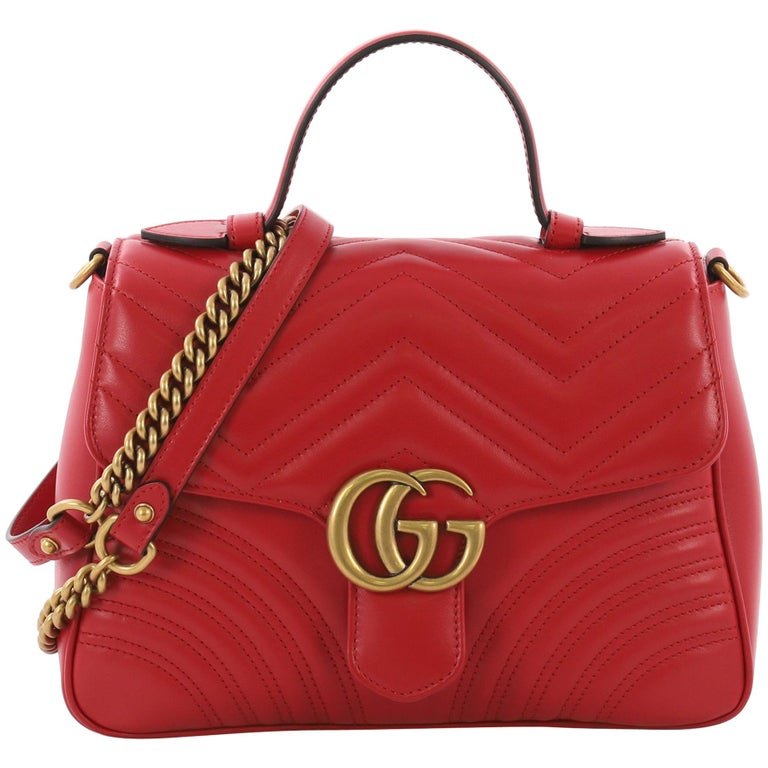 df731ccb240956 Gucci GG Marmont Top Handle Flap Bag Matelasse Leather Small For Sale
