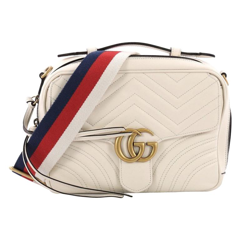 53ded9c199fa Gucci GG Marmont Top Handle Flap Bag Matelasse Leather Small at 1stdibs