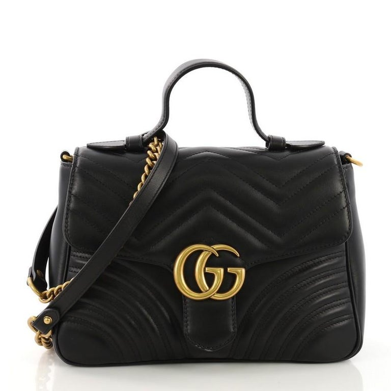7b484c875b8 Gucci GG Marmont Top Handle Flap Bag Matelasse Leather Small at 1stdibs