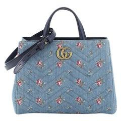 Gucci GG Marmont Tote Embroidered Matelasse Denim Small