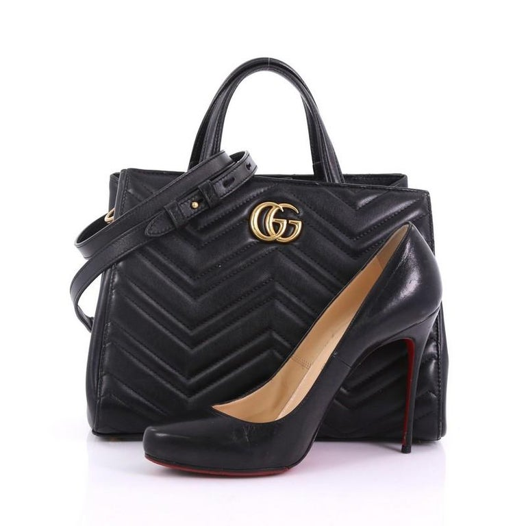 6de5c511b89b This Gucci GG Marmont Tote Matelasse Leather Small, crafted from black  matelasse leather, features