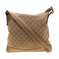 Gucci GG Monogram and Gold Perforated Leather Crossbody Bag