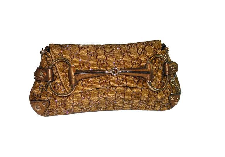 Brown GUCCI GG Monogram Beaded Crystal Gold Metallic Horsebit Bag Clutch For Sale