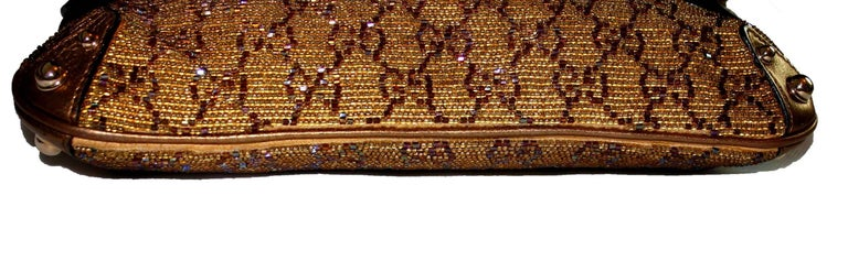 GUCCI GG Monogram Beaded Crystal Gold Metallic Horsebit Bag Clutch In Good Condition For Sale In Switzerland, CH