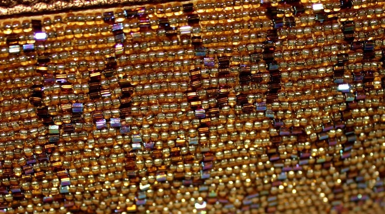 Women's GUCCI GG Monogram Beaded Crystal Gold Metallic Horsebit Bag Clutch For Sale