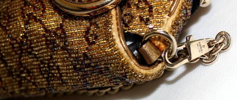 GUCCI GG Monogram Beaded Crystal Gold Metallic Horsebit Bag Clutch For Sale 1