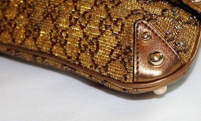 GUCCI GG Monogram Beaded Crystal Gold Metallic Horsebit Bag Clutch For Sale 2
