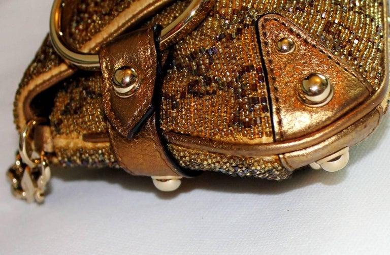 GUCCI GG Monogram Beaded Crystal Gold Metallic Horsebit Bag Clutch For Sale 3