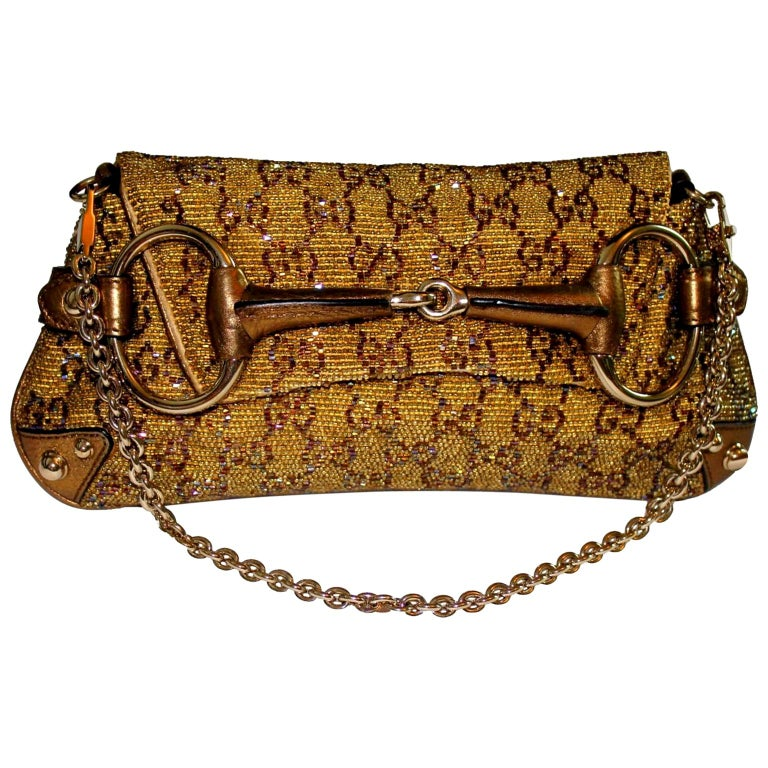 GUCCI GG Monogram Beaded Crystal Gold Metallic Horsebit Bag Clutch For Sale