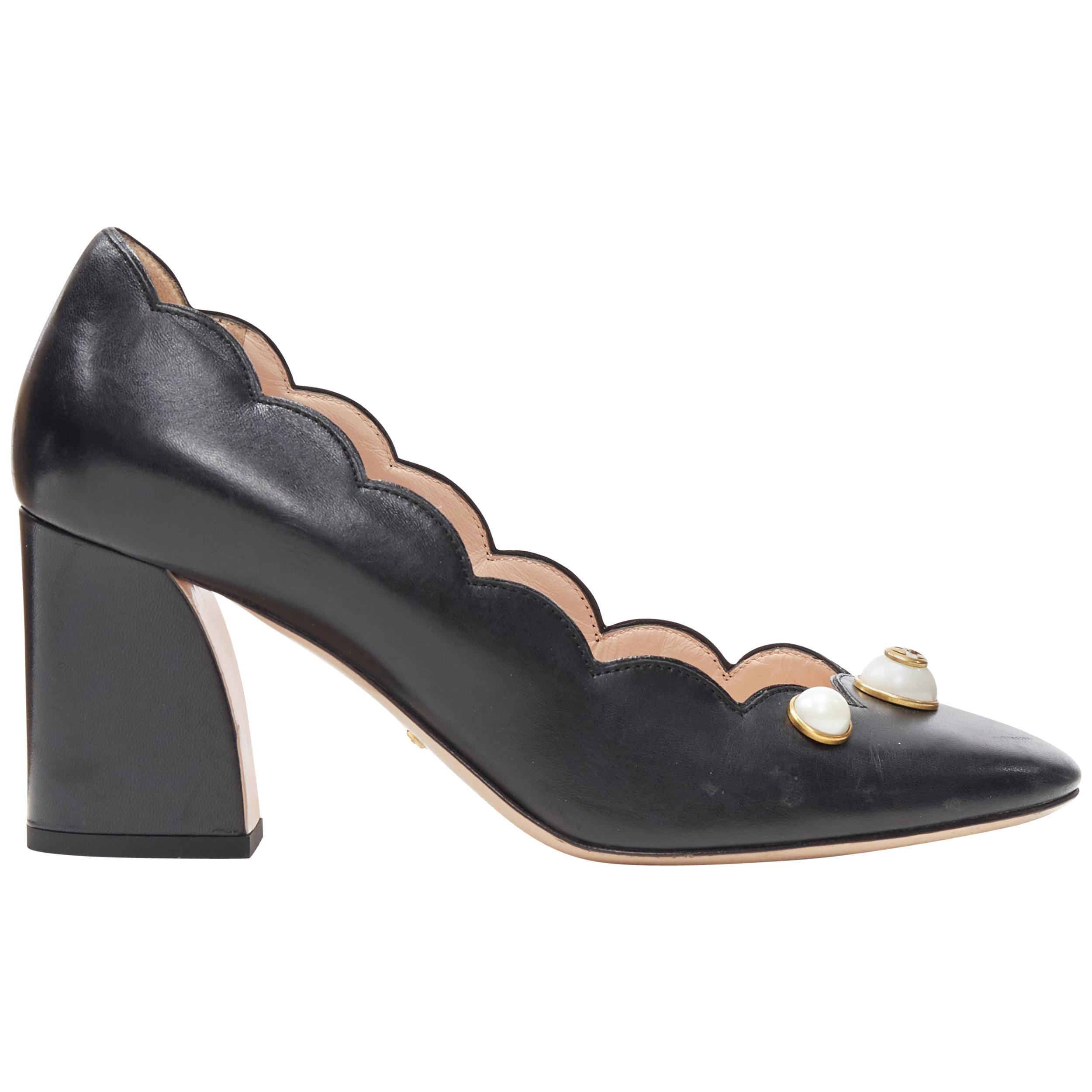 GUCCI GG Pearl black leather scalloped edge round toe chunky heel pump EU37.5