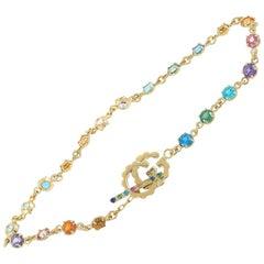 Gucci GG Running 18 Karat Gold Sapphire, Tsavorite, Topaz and Quartz Bracelet