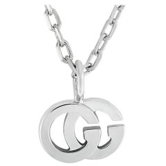 Gucci GG Running 18 Karat White Gold and Diamond Necklace