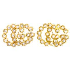 Gucci GG Running 18 Karat Yellow Gold Diamond Earrings