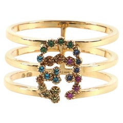 Gucci GG Running 3-Band Ring 18 Karat Yellow Gold with Mixed Gemstones