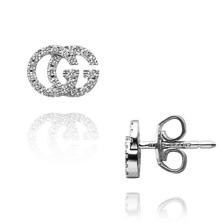 Gucci GG Running White Gold Pave Diamond Stud Earrings YBD481678001 In New Condition For Sale In Wilmington, DE