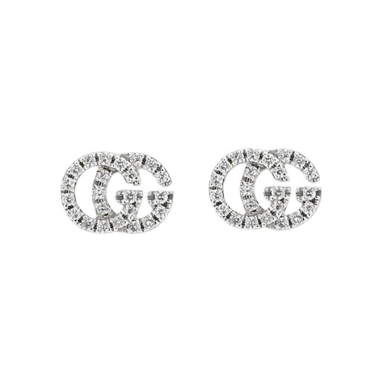 Gucci GG Running White Gold Pave Diamond Stud Earrings YBD481678001 For Sale