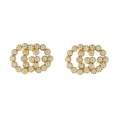 Gucci GG Running Yellow Gold Diamond Stud Earrings YBD481676001