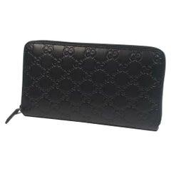 GUCCI GG Ssima round zipper unisex long wallet 447906 black