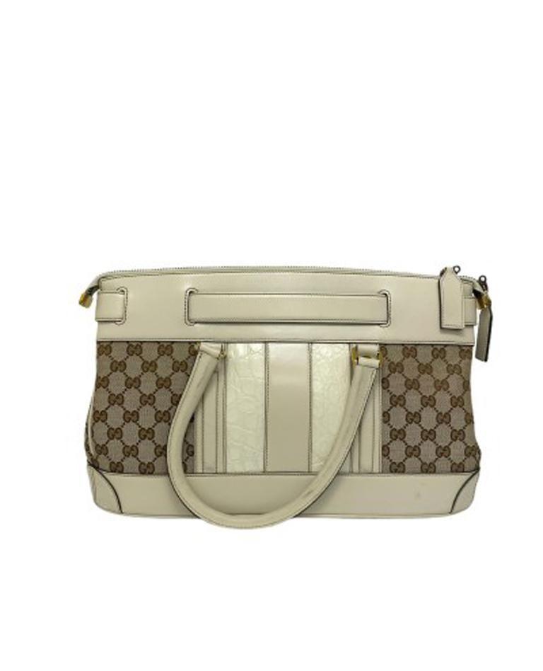 Women's Gucci GG Supreme bag in Supreme Fabric and White Leather Trim For Sale