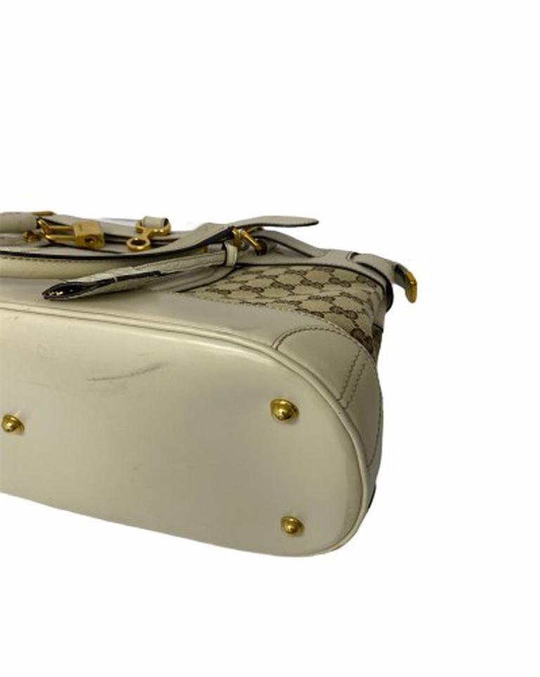 Gucci GG Supreme bag in Supreme Fabric and White Leather Trim For Sale 2