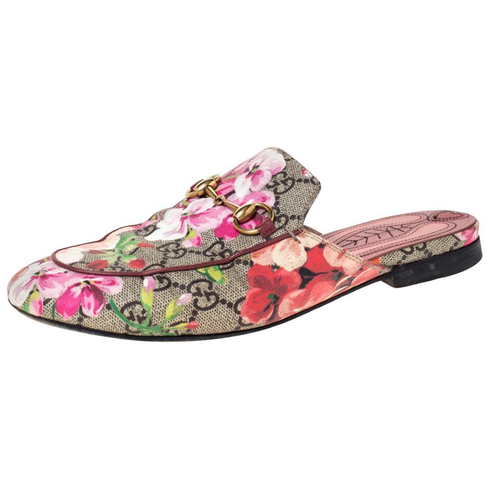 Gucci GG Supreme Blooms Printed Canvas Princetown Horsebit Loafer Slides Size 36