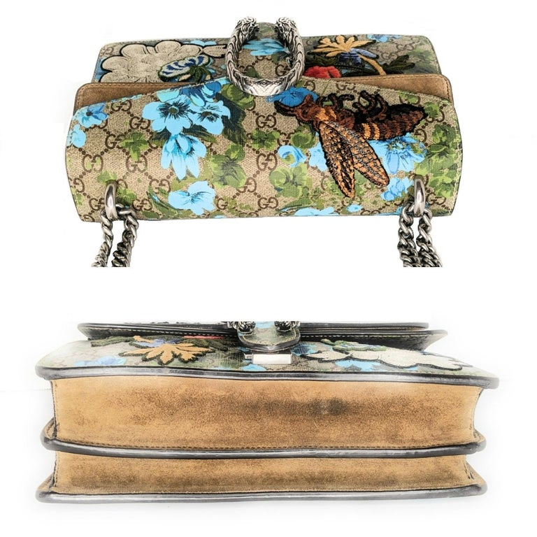 Women's Gucci GG Supreme Embroidered Bird/Flowers Small Dionysus Shoulder Bag For Sale