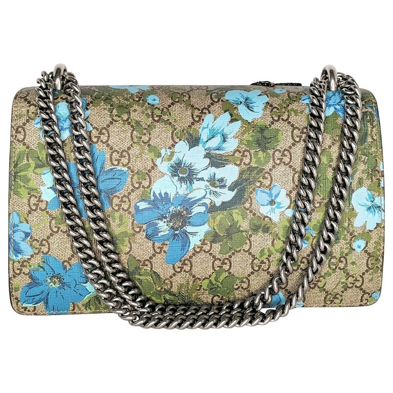 Gucci GG Supreme Embroidered Bird/Flowers Small Dionysus Shoulder Bag For Sale
