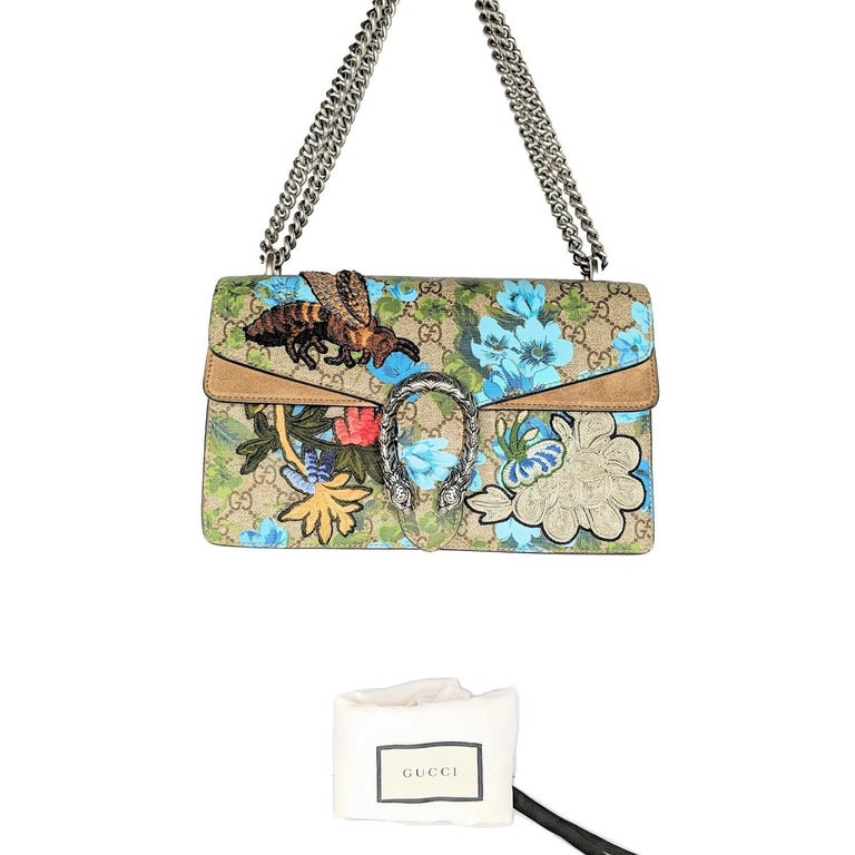 Gray Gucci GG Supreme Embroidered Bird/Flowers Small Dionysus Shoulder Bag For Sale
