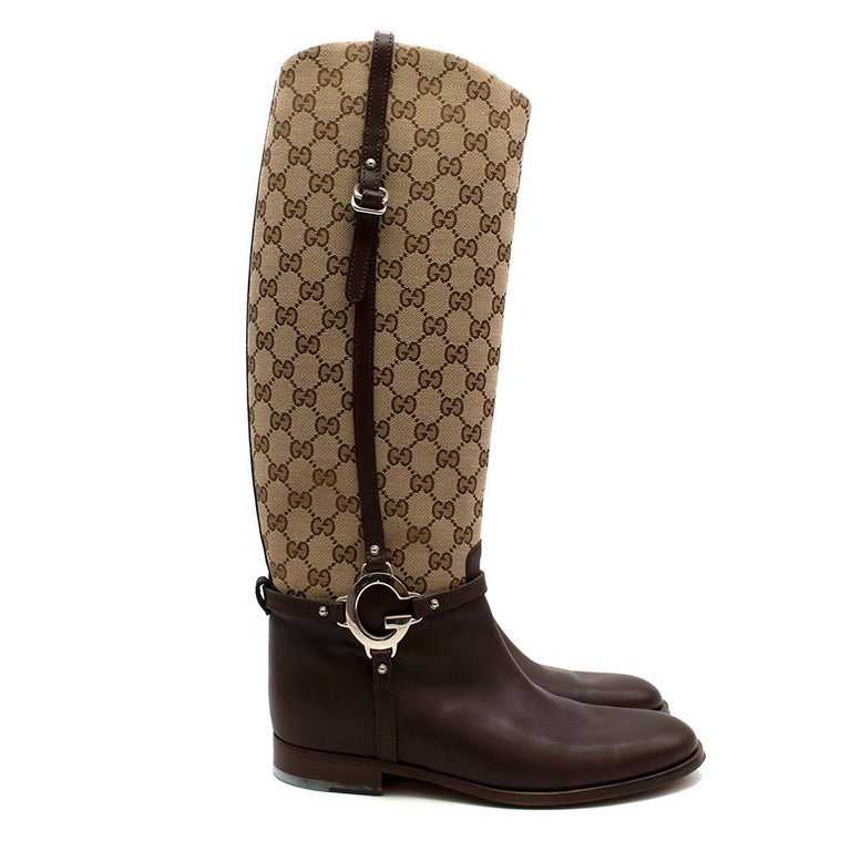 Black Gucci GG Supreme Leather Knee High Boots 40 For Sale